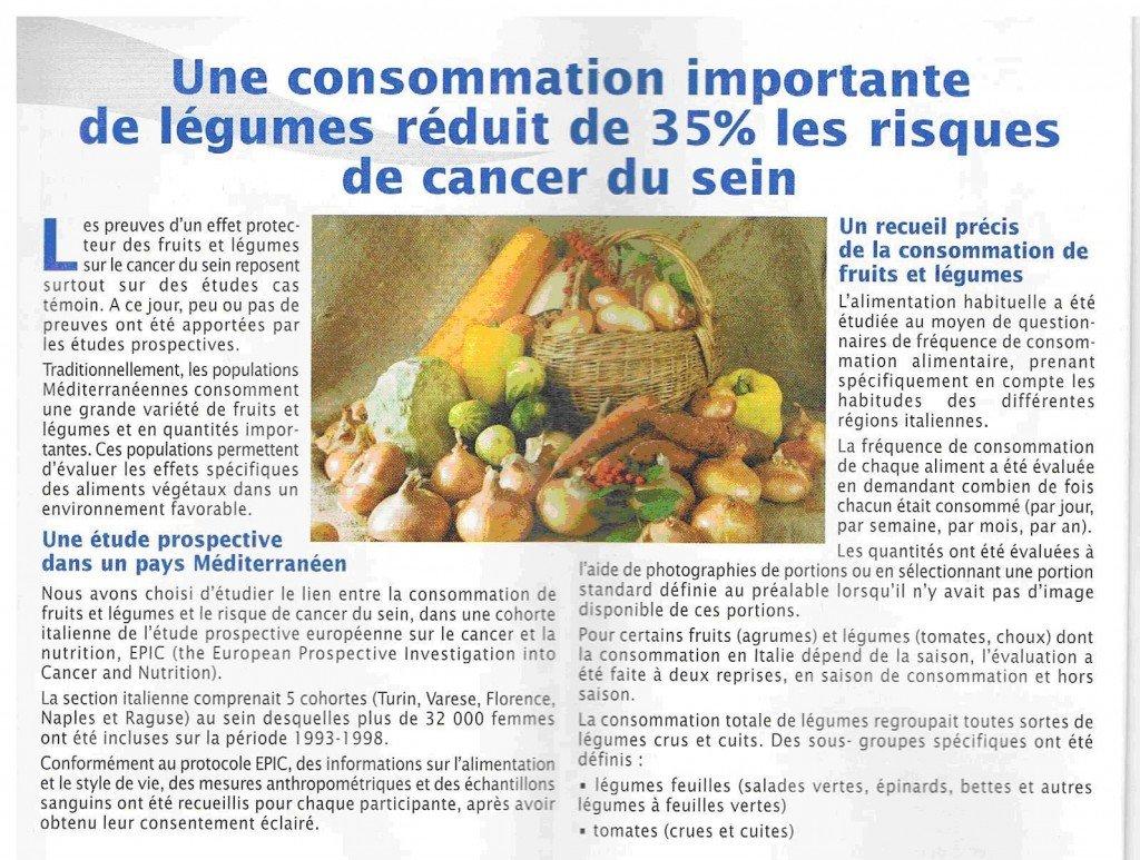 manger des légumes réduits de 35% le cancer du sein dans Cancer legumes